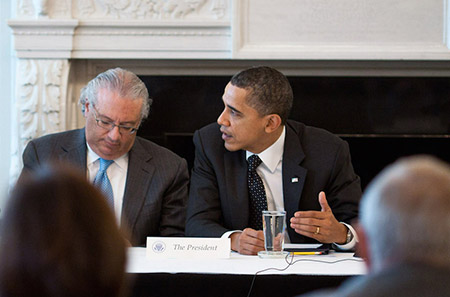 Alan Solow, pictured here with President Barack Obama at the White House in 2011, is part of a reinvigorated effort among  Washington decision-makers to advocate for a two-state solution. (Pete Souza/White House)