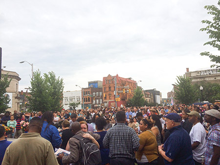 Hundreds turned out for a vigil in Baltimore's Station North neighborhood on Monday, June 13 to remember the victims of the Pulse nightclub shooting in Orlando. (Dan Samuels)