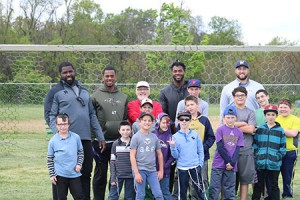 Ravens players (from left) Kapron Lewis-Moore, Matthew Judon, Julian Wilson and Rick Wagner played football with the kids at Shoresh's annual BBQ Banquet fundraiser on Sunday, May 15. More than 570 adults and children participated in camp-like activities prior to the dinner and awards presentations. (Provided)