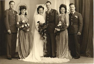 Robert Weinberg as an attendant at an unknown military wedding, circa 1945 (Snapshot: Courtesy of the Jewish Museum of Maryland, 1996.50.58)