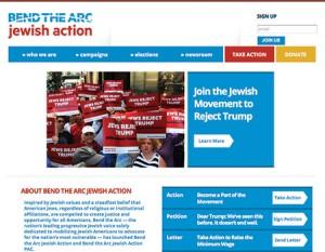 Screenshot of Bend the Arc Jewish Action homepage (jewishaction.us)