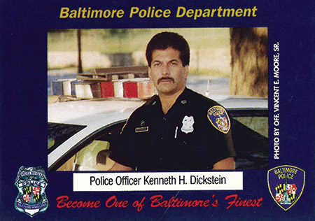 Ken Dickstein on a Baltimore Police Department trading card (Provided)