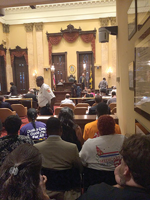 A large number of Baltimore City residents attended the city council meeting on Monday, during which a preliminary vote for a $15 minimum wage was held. (Justin Silberman)
