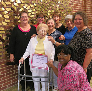 "Baltimore Hebrew Congregation member Fannie Marder celebrated turning 100 years old with her ""lunch bunch,""  who honored her with a leaf on the synangogue's Simcha Tree on  Friday, Aug. 12. (Provided)"