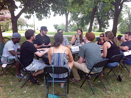 Charm City Tribe held a Shabbat picnic at Patterson Park in Baltimore for an afternoon of blessings, Jewish learning and noshing. The organization held the picnics each month this summer. (Provided)