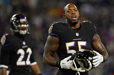 Ravens linebacker Terrell Suggs has sacked his favorite Jewish food in favor of a healthier diet. (Patrick Smith/Getty Images)