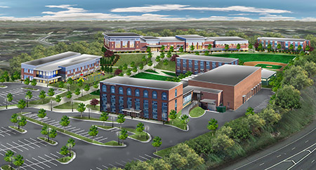 A virtual rendering of the Academy's renovated campus (Talmudical Academy: talmudicalacademy.org)