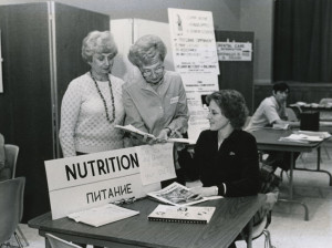 Volunteers prepare a table at a JCC health fair in 1981. (Snapshot: CCourtesy of the Jewish Museum of Maryland, 2006.013.426)