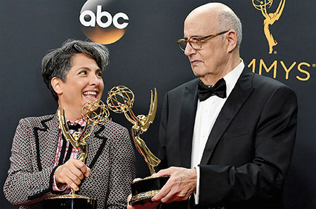 "Director Jill Soloway and actor Jeffrey Tambor, who both won Emmy Awards for the series ""Transparent,"" backstage at the 68th Annual Primetime Emmy Awards at the Microsoft Theater in Los Angeles. (Steve Granitz/WireImage/GettyImages)"