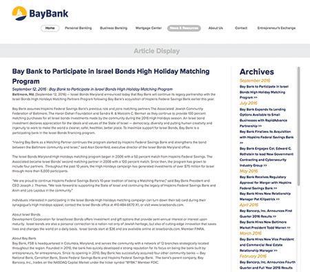 Bay Bank screenshot announcing its partnership with Israel Bonds
