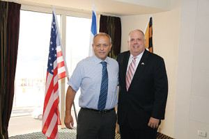 Gov. Larry Hogan (right) is pictured in Tel Aviv during his weeklong economic development mission with Dr. Ariel Katz, president and CEO of Enzymotec, whose subsidiary VAYA Pharma recently opened its U.S. headquarters at the University of Maryland BioPark.