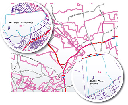 Maps created using Baltimore County's My Neighborhood interactive map highlight areas in which zoning changes could lead to new development. (Zoning maps: baltimorecountymd.gov)