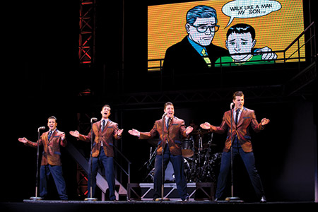"The cast of ""Jersey Boys"" lines up to sing the hit ""Walk Like a Man."" (Jeremy Daniel)"