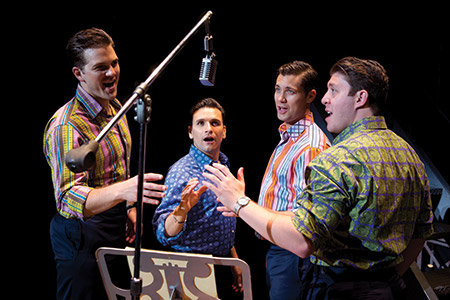 "The ""Jersey Boys"" give it their all during a scene in the recording studio. (Jeremy Daniel)"