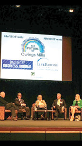 "The Baltimore Business Journal hosted a ""Future of Owings Mills"" breakfast at the Gordon Center for Performing Arts on Friday, Oct. 7, in which (from left) Howard Brown, chairman of David S. Brown Enterprises; Stevenson University president Kevin Manning; BBJ reporter and moderator Melody Simmons; Greenberg Gibbons CEO Brian Gibbons and Baltimore County Councilwoman Vicki Almond discussed Owings Mills development. (Provided)"