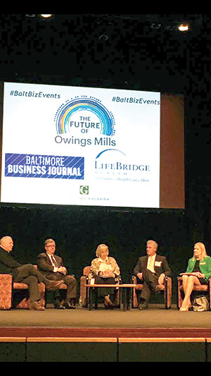 """The Baltimore Business Journal hosted a """"Future of Owings Mills"""" breakfast at the Gordon Center for Performing Arts on Friday, Oct. 7, in which (from left) Howard Brown, chairman of David S. Brown Enterprises; Stevenson University president Kevin  Manning; BBJ reporter and moderator Melody Simmons; Greenberg Gibbons CEO Brian Gibbons and Baltimore County Councilwoman Vicki Almond discussed Owings Mills development. (Provided)"""
