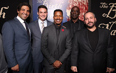 Left to right: Producers, Kevin Turen, Jason Michael Berman, Nate Parker, Preston L. Holmes. (Photo by Aaron L. Gilbert)