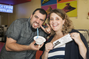 David and Laura Alima, owners of The Charmery, pose with their new flavor, Black Sabbath. (Photo by Marc Shapiro)