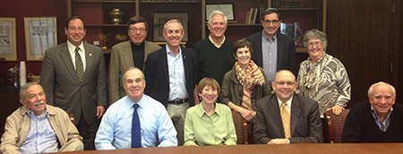 Representing more than 30 years of synagogue leadership, Chizuk Amuno Congregation's past presidents council  met on Oct. 13 to be briefed by current president Jason Blavatt (top left). Bottom row, from left: David Roffman, Gary Attman, Anne Young, David  Mallot and Mendy Lerner. Top row, from left: Blavatt, Alan Kanter, Richard Manekin, Pacy Oletsky, Lee Hendler, Andrew Miller and Florene Goldner.