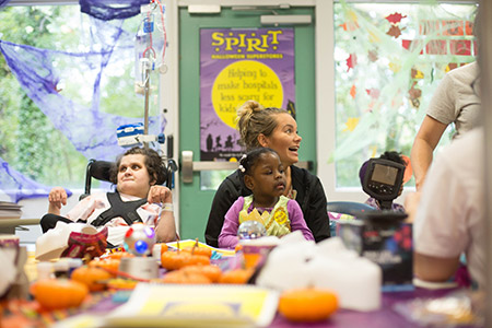 Patients at the Mount Washington  Pediatric Hospital and their families enjoy a Halloween party on Oct. 13 hosted by Spirit of Children that featured costumes, games and crafts. (Provided)