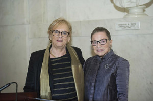 Former Israeli Supreme Court President Dorit Beinisch (left) poses with Supreme Court Justice Ruth Bader Ginsburg at the American Friends of the Hebrew University Mid-Atlantic Region's law and terrorism conference in late September. (Provided)