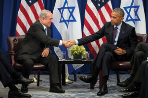 Prime Minister Benjamin Netanyahu shakes hands with President Barack Obama during their meeting at a New York City hotel on Sept. 21. (Drew Angerer/Getty Images)
