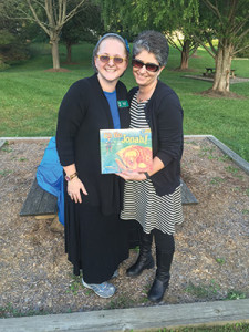 PJ Library's Gabrielle Burger (left) poses with Brenda Footer during a Tashlich event in Eldersburg. (Daniel Nozick)