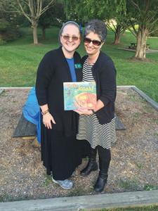 PJLibrary's Gabrielle Burger (left) poses with Brenda Footer during a Tashlich event in Eldersburg. (Daniel Nozick)