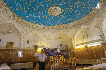 Yossif Tilayev is caretaker of the 19th-century Bukharian synagogue in Samarkand, where there is a Jewish population of 200. (Cnaan Liphshiz/JTA)