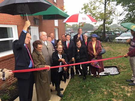 "Officials from CHAI and The Associated, as well as Baltimore City Councilwoman Rochelle ""Rikki"" Spector (second from left), celebrate the opening of CHAI's first affordable housing project for families. (Courtesy of Baltimore Jewish Council)"