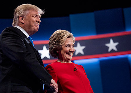 Donald Trump and Hillary Clinton shaking hands after their first presidential debate, which was held at Hofstra University in Hempstead, N.Y., Sept. 26, 2016. (Melina Mara/The Washington Post via Getty Images)