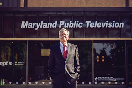 Larry Unger outside MPT's headquarters in Owings Mills. Photo by David Stuck