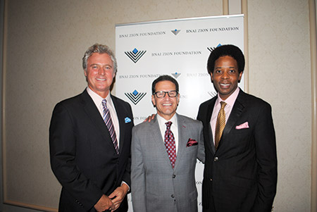 From left: Brian Gibbons, Neil Meltzer and Guy Flynn were honored by Bnai Zion on Nov. 3. (Provided)