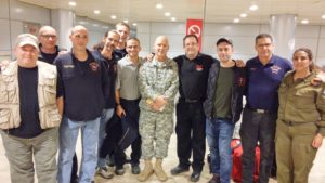 Baltimore-area firefighters, including Scott Goldstein (third from left), Jason Broth (fourth from left), Sholom Reches (fifth from left) and Howie Cohen (second from right), flew to Israel to help stem hundreds of fires as pasrt of the Emergency Volunteers Projects. (Provided)