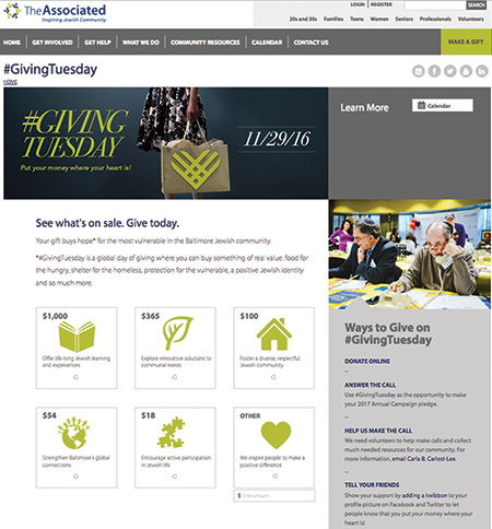 Screenshot of The Associated's #GivingTuesday page