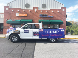 A white pickup truck parked outside Goldberg's stirred up emotions for customers. (Photos provided)