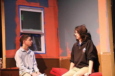 Freshman Coby Ziv as Jay  Kurnitz (left); and senior Benjamin Balfanz as Uncle Louie