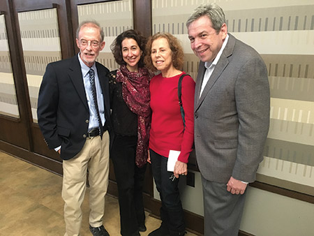 From left: Baltimore Hebrew Congregation Brotherhood president Sidney Bravmann, Walters Art Museum director of curatorial affairs Amy Landau, Diane Bravmann and Jewish Museum of Maryland executive director Marvin Pinkert at the Brotherhood's 2016-2017 opening breakfast on Nov. 6, where Landau spoke on the topic of tracing Jewish histories at the Walters. (Provided)