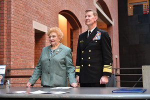 """Holocaust survivor Nesse Godin  received an award from the Naval Academy, presented by Academy  Superintendent Vice Admiral Walter E. """"Ted"""" Carter Jr., on Oct. 26 at the U.S. Holocaust Memorial Museum for her work of more than 20 years  sharing her experiences with incoming midshipmen. (Provided)"""