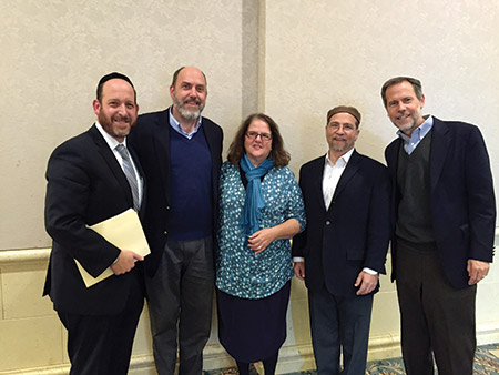 From left: Rabbi Shmuel Silber of Suburban Orthodox Congregation Toras Chaim; Rabbi Robert Tobin of Temple B'nai Shalom in West Orange, N.J.; Rabbi Gila Ruskin of Temple Adas Shalom; Rabbi Geoff Basik of Kol HaLev Synagogue; and Rabbi Steven Schwartz of Beth El Congregation, who moderated the discussion. (Photo by Gail Lipsitz)