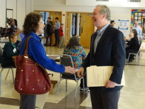 REP. CHRIS VAN HOLLEN (D-MD.) GREETS A VOTER AT THE TEMPLE EMANUEL POLLING STATION IN KENSINGTON. VAN HOLLEN WAS DECLARED THE WINNER IN THE RACE TO SUCCEED SEN. BARBARA MIKULSKI (D-MD.) (DANIEL SCHERE)