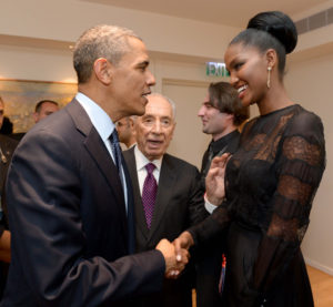 "Titi Aynaw, shown meeting President Barack Obama during his visit to Israel in 2013, has embraced being Jewish ""100 percent."" (Photo by Avi Ohayon)"