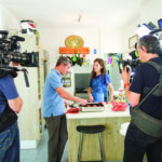 Roger Sherman and Michael Solomonov filming chef and journalist Ruthie Russo (Provided)