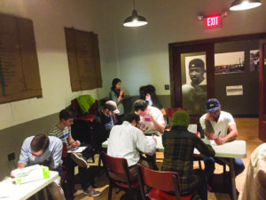About two dozen people showed up at Red Emma's on Nov. 30 to write letters to local Jewish organizations, mostly concerning the spike in hate crimes.