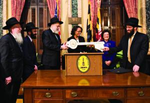 Rabbi Elchonon Lisbon, Rabbi Velvel Belinsky, Rabbi Shmuel Kaplan, Mayor Sheila Dixon, Councilwoman, Rikki Spector and Rabbi Lev Gopin.