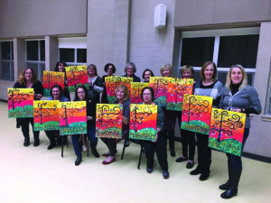 The Chizuk Amuno Congregation Sisterhood took part in a wine and paint night last month with The Painted Palette, which teaches participants how to replicate a featured painting, the result of which attendees get to take home.