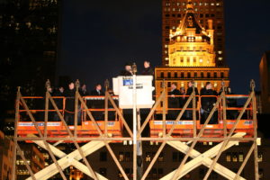 The World's Largest Hanukkah Menorah being lighted by then-New York City Mayor Michael R. Bloomberg with Rabbi Shmuel M. Butman, Director of the Lubavitch Youth Organization, in 2013. (PR Newswire)