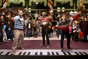 """From left: Seth Rogen, Anthony Mackie and Joseph Gordon-Levitt star in Jonathan Levine's """"The Night Before"""" (Courtesy of Columbia Pictures)"""