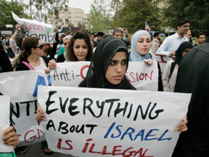Muslim students protest Israel at the University of California, Irvine. (Photo by Mark Boster/Los Angeles Times via Getty Images)