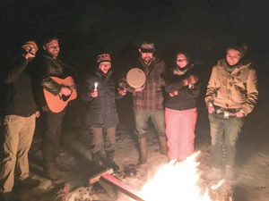 Celebrants enjoy the Pearlstone Center's Havdallah bonfires. (Mira Menyuk)